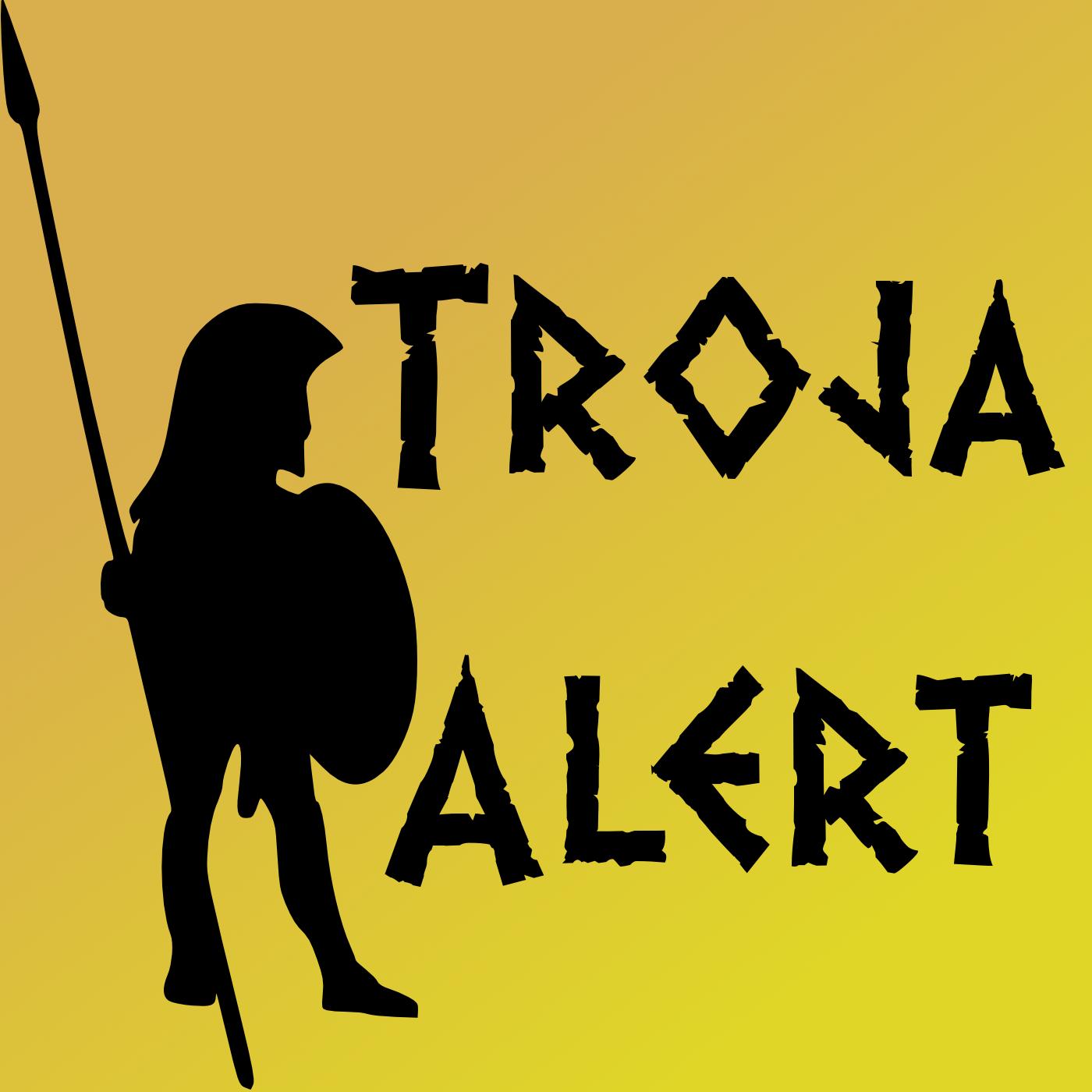 "Logo des Podcasts ""Troja Alert"""
